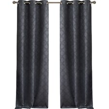 Habbous Geometric Blackout Thermal Grommet Curtain Panels (Set Of 2)