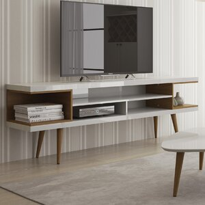 Lemington 70.47 TV Stand with Splayed Wooden Legs and 4 Shelves by George Oliver