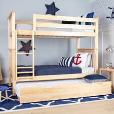 Solid Wood Twin Bunk Bed with Trundle Bed by Max & Lily