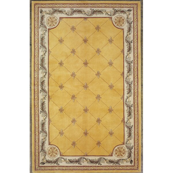 Astoria Grand Totternhoe Gold Fleur De Lis Rug U0026 Reviews | Wayfair