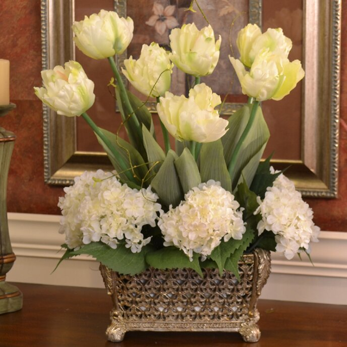 Silk Design Tulip And Hydrangea Floral Arrangement In Decorative Vase