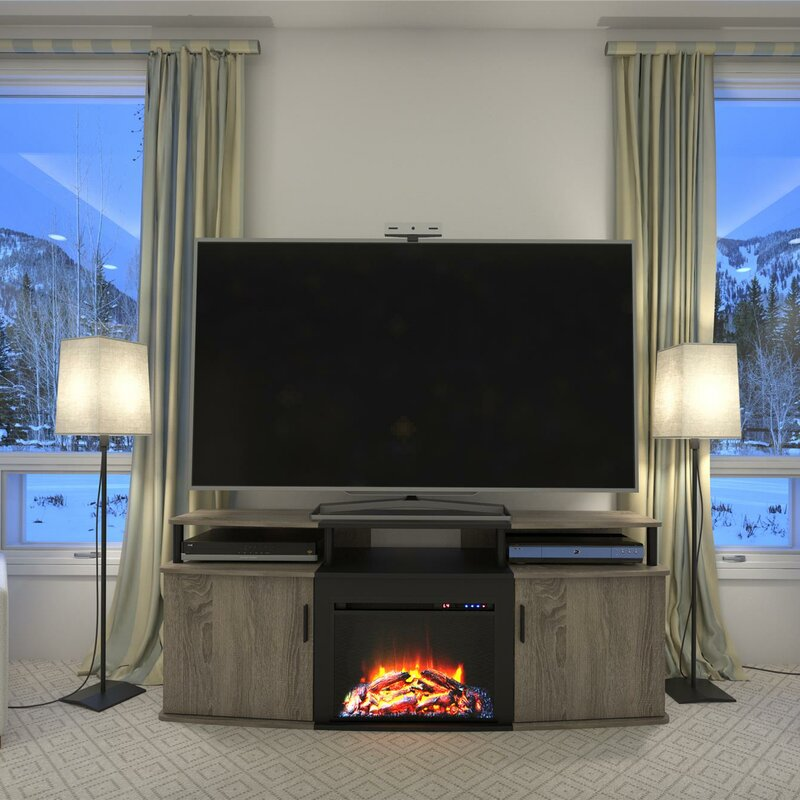 Electric Fireplace tv console with electric fireplace : Wade Logan Elian 63