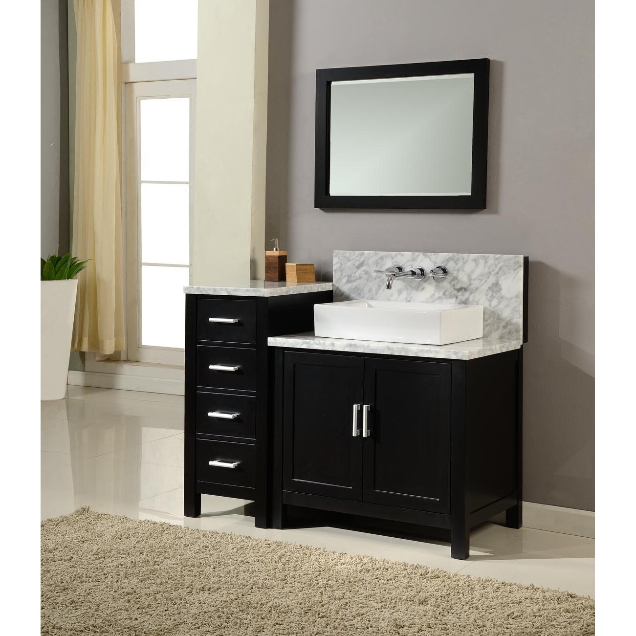 Bathroom sink and mirror - Horizon 84 Double Premium Bathroom Vanity Set With Mirror