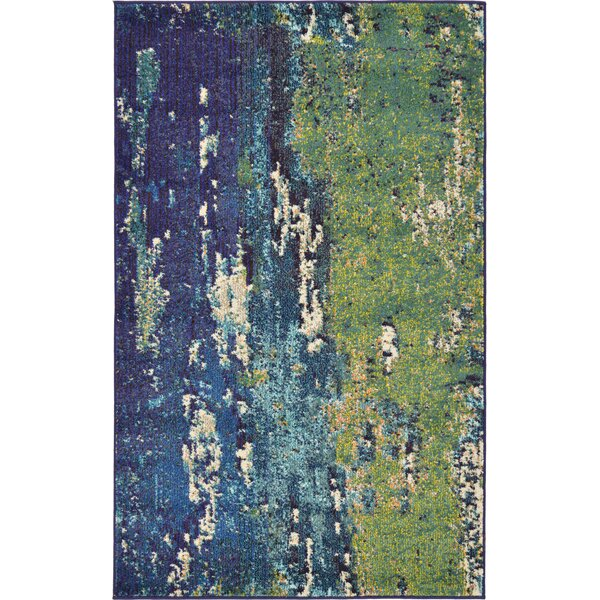 Latitude Run Tavistock Green/Navy Blue Area Rug U0026 Reviews | Wayfair