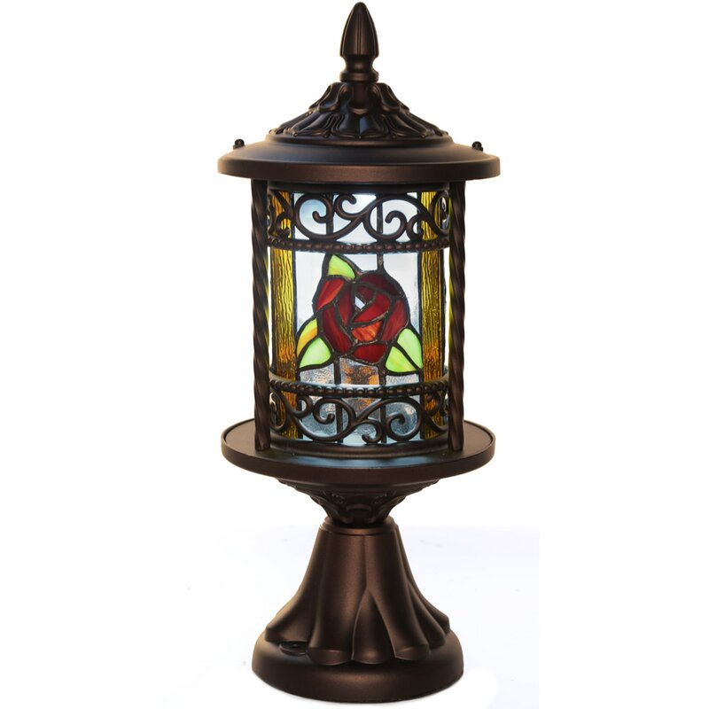 default_name - River Of Goods Regal Rose Stained Glass Outdoor 10-Light LED Pier