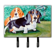 Basset Hound Double Trouble Leash Holder and Key Hook by Caroline's Treasures
