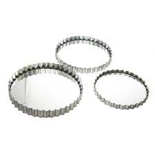 3 piece metal gear edge wall mirror set