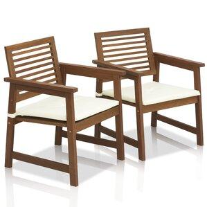 Juna Teak Hardwood Outdoor Chair With Cushion (Set Of 2)