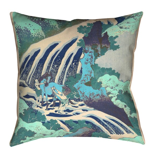 Wayfair Teal Throw Pillows : ArtVerse Katsushika Hokusai Horse and Waterfall in Teal Outdoor Throw Pillow Wayfair.ca