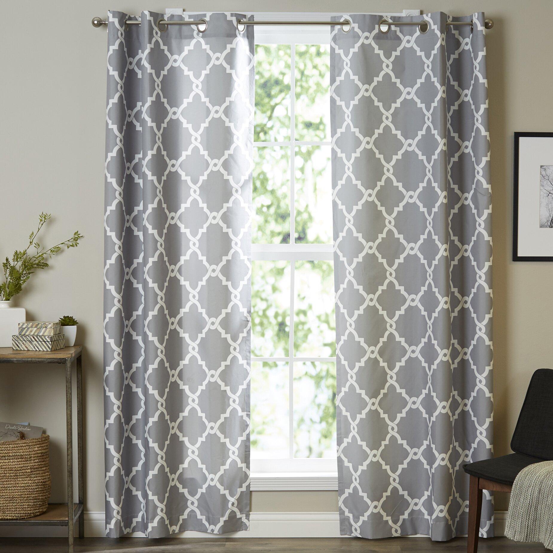Latitude Run Browning Geometric Semi-Sheer Grommet Curtain