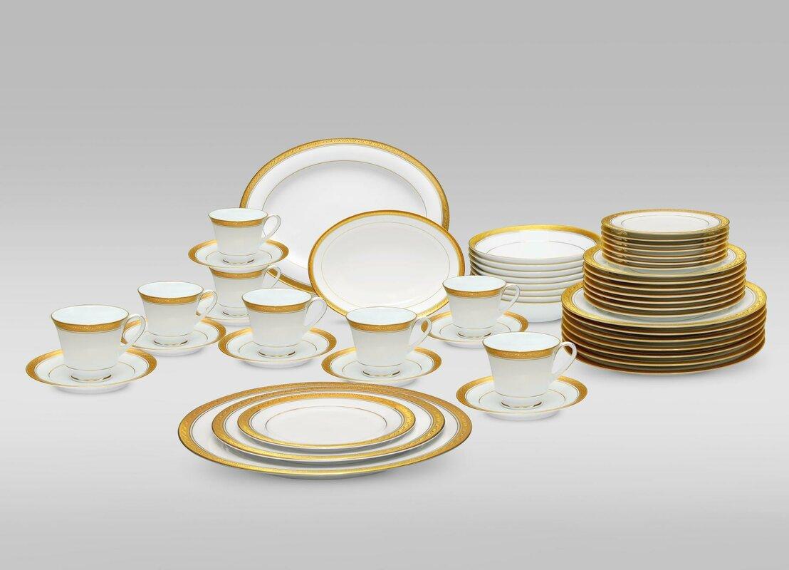 Noritake Crestwood Gold 50 Piece Dinnerware Set, Service for 8 ...