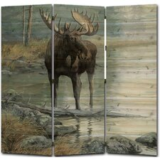 68 x 68 Quiet Water Moose 3 Panel Room Divider by WGI-GALLERY