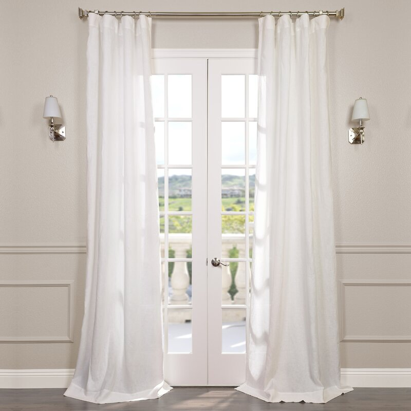 Signature Solid Sheer Rod Pocket Single Curtain Panel  Linen Curtain Panels