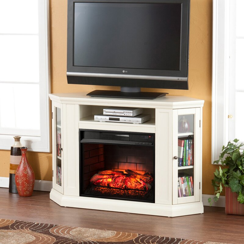 Electric Fireplace tv console with electric fireplace : Alcott Hill Dunminning Corner TV Stand with Electric Fireplace ...