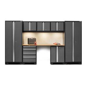bold 30 series 8 piece garage storage cabinet set with worktop