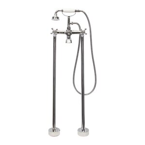 Double Handle Floor Mount Tub Filler Faucet With Hand Shower