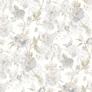 """Butterfly Peony Trail Vintage 33' x 20.5"""" Floral 3D Embossed Wallpaper"""