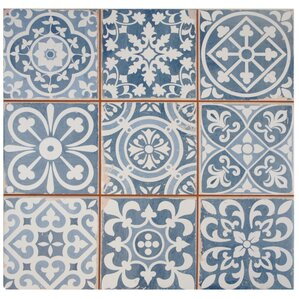 "Mamie Ceramic 13"" x 13"" Tile in Blue"