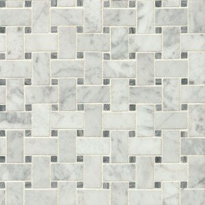 """Harrower 12"""" x 12"""" Marble Mosaic Tile in White & Gray"""