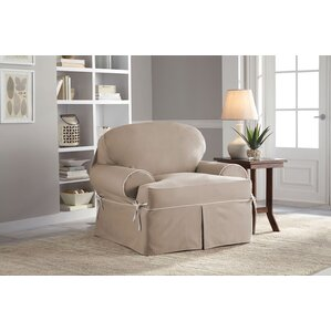 Twill T-Chair T-Cushion Skirted Slipcover  by Serta