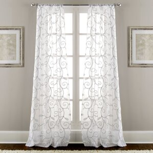 Melissa Sheer Embroidered Rod Pocket Curtain Panel Pair (Set of 2)