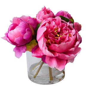 Faux Pink Peonies in Glass Vase
