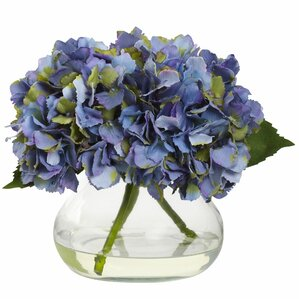 Faux Hydrangea in Glass Vase