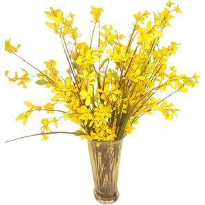 Faux Yellow Forsythia Grass in Glass Vase