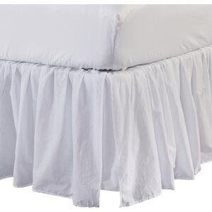 Ruffled Cotton Bed Skirt in White