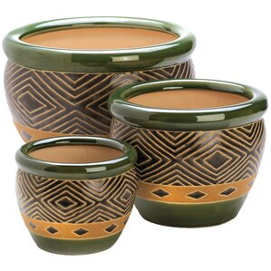 3-Piece Adobo Ceramic Pot Planter Set
