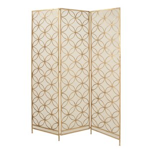 "Kayla 79"" H x 57"" W Metal Wired 3 Panel Room Divider"