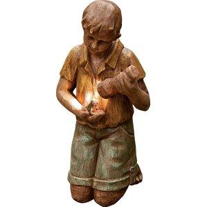 Kneeling Boy Solar Garden Statue