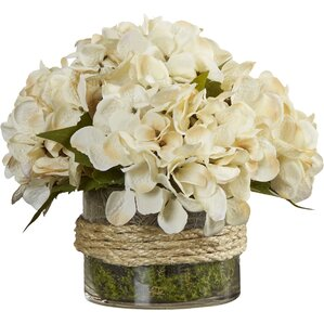 Faux Cream Hydrangea in Rope-Wrapped Vase