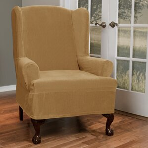 Collin Stretch T-Cushion Wing Chair Slipcover  by Maytex