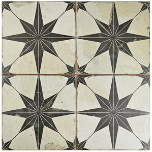 "Pacifica 17.63"" x 17.63"" Ceramic Field Tile in Black"