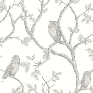 """Medina 33' x 20.5"""" Enchanted Forest Owl and Tree Wallpaper Roll"""