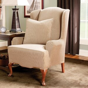 Stretch Stripe Wingback Chair T-Cushion Slipcover  by Sure Fit