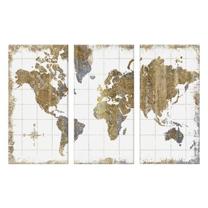 3-Piece Gilded Map by All That Glitters Canvas Art Set