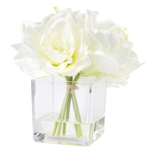 Faux Lily Arrangement in Glass Vase