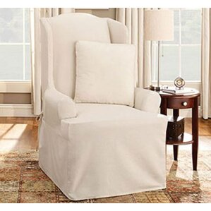 Cotton Duck Wing Chair T-Cushion Slipcover  by Sure Fit