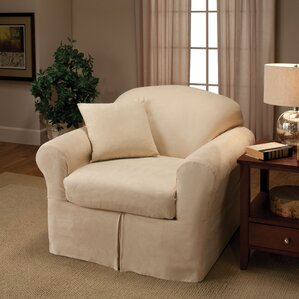 Microsuede Two Piece Chair Slipcover  by Madison Home