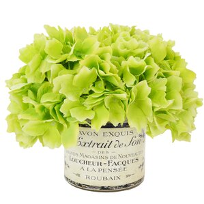 Faux Hydrangea in French Labeled Pot