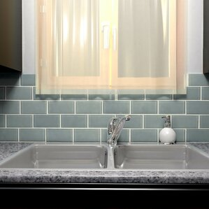 "Sienna 3"" x 6"" Glass Subway Tile in Blue Smoke"