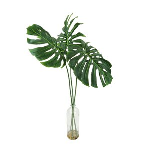 Faux Philodendron Stems in Decorative Glass Vase