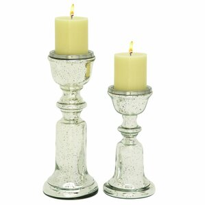 Monica 2 Piece Glass Candlestick Set