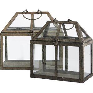 2-Piece Tiffany Glass Terrarium Set