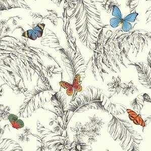 "Martinez 27' x 27"" Floral Roll Wallpaper"