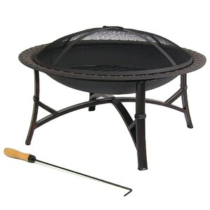 Steel Wood Fire Pit with Spark Screen