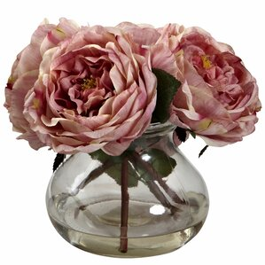 Faux Rose Arrangement in Glass Vase