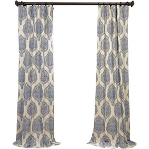 Bellino Damask Semi-Opaque Pinch Pleat Single Curtain Panel